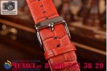 Фирменный сменный кожаный ремешок для умных смарт-часов Apple Watch 38mm из кожи крокодила красного цвета
