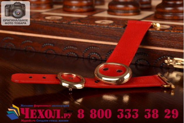 Фирменный сменный кожаный ремешок с металлической пряжкой для умных смарт-часов Apple Watch 38mm красный из качественной импортной кожи