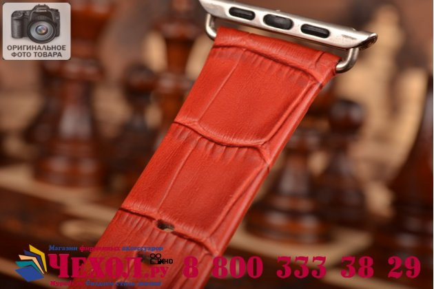 Фирменный сменный кожаный ремешок для умных смарт-часов Apple Watch 42mm из кожи крокодила красного цвета