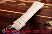 Фирменный сменный кожаный ремешок для умных смарт-часов Apple Watch 42mm из лаковой кожи крокодила белого цвета