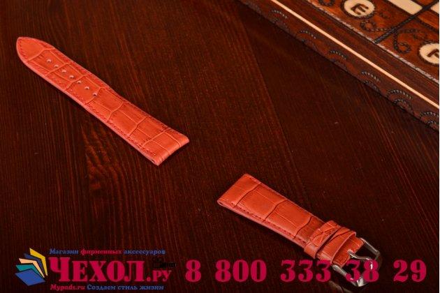 Фирменный сменный кожаный ремешок для умных смарт-часов Apple Watch 42mm из лаковой кожи крокодила красного цвета