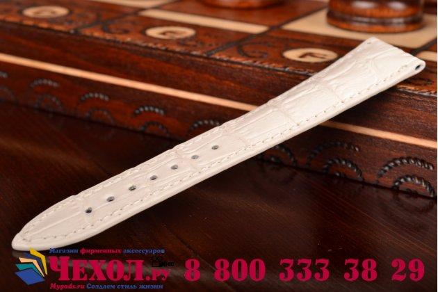 Фирменный сменный кожаный ремешок для умных смарт-часов Apple Watch 38mm из лаковой кожи крокодила белого цвета