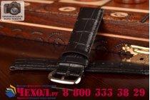 Фирменный сменный кожаный ремешок для умных смарт-часов Apple Watch 38mm из лаковой кожи крокодила черного цвета