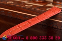 Фирменный сменный кожаный ремешок для умных смарт-часов Apple Watch 38mm из лаковой кожи крокодила красного цвета
