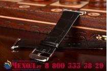 Фирменный сменный кожаный ремешок для умных смарт-часов Apple Watch 42mm из кожи крокодила черного цвета