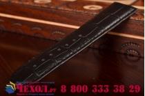 Фирменный сменный кожаный ремешок для умных смарт-часов Apple Watch 42mm из лаковой кожи крокодила черного цвета