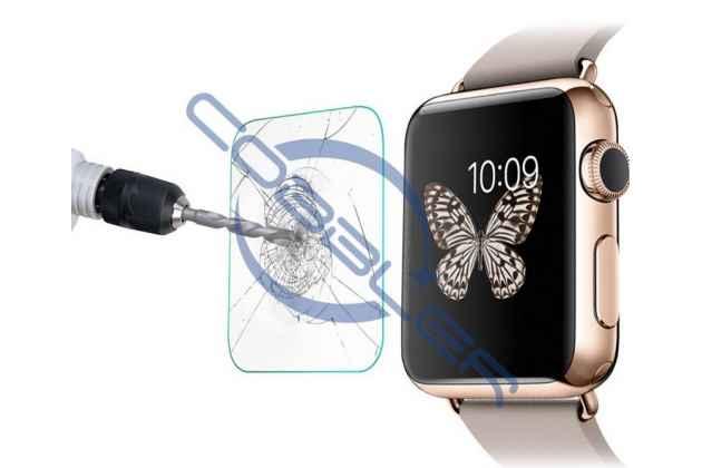 Фирменное защитное закалённое противоударное стекло премиум-класса из качественного японского материала с олеофобным покрытием для часов Apple Watch Series 1/2/3 38mm