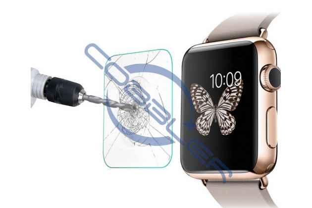Фирменное защитное закалённое противоударное стекло премиум-класса из качественного японского материала с олеофобным покрытием для часов Apple Watch Series 1/2/3 42mm