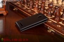 """Фирменный оригинальный вертикальный откидной чехол-флип для ThL T12 черный кожаный """"Prestige"""" Италия"""