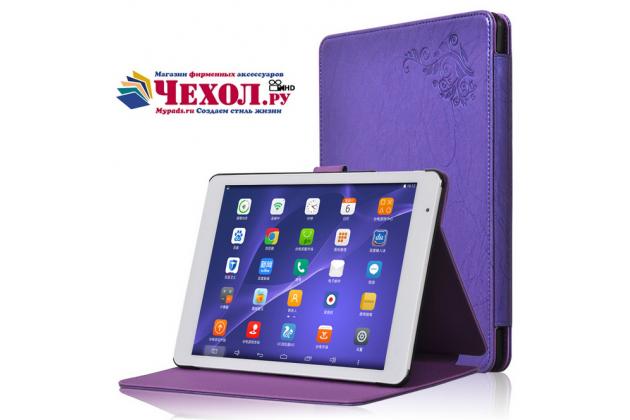 Фирменный чехол закрытого типа с красивым узором для планшета Teclast P98 4G Octa Core с держателем для руки фиолетовый натуральная кожа Prestige Италия