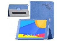 Фирменный чехол закрытого типа с красивым узором для планшета  Teclast X10/ Teclast T98/ Teclast T98 4G  с держателем для руки синий натуральная кожа  Италия