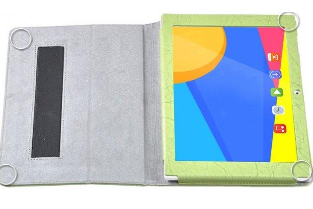 Фирменный чехол закрытого типа с красивым узором для планшета  Teclast X10/ Teclast T98/ Teclast T98 4G с держателем для руки оранжевый натуральная кожа  Италия