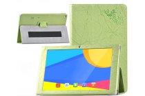 Фирменный чехол закрытого типа с красивым узором для планшета Teclast X10/ Teclast T98/ Teclast T98 4G с держателем для руки зеленый натуральная кожа  Италия