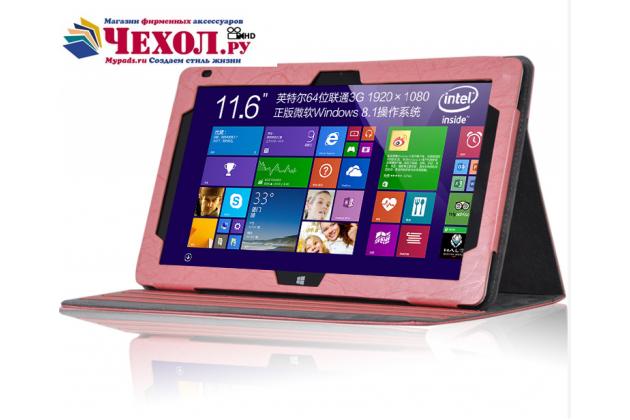 Фирменный чехол закрытого типа с красивым узором для планшета Teclast Tbook 16 Power / 16s с держателем для руки розовый натуральная кожа Prestige Италия