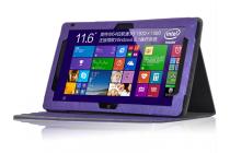 Фирменный чехол закрытого типа с красивым узором для планшета Teclast Tbook 16 Power / 16s с держателем для руки фиолетовый натуральная кожа Prestige Италия