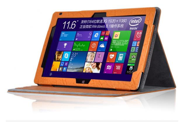 Фирменный чехол закрытого типа с красивым узором для планшета Teclast Tbook 16 Power / 16s с держателем для руки оранжевый натуральная кожа Prestige Италия