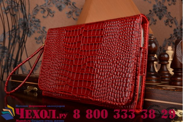 Фирменный роскошный эксклюзивный чехол-клатч/портмоне/сумочка/кошелек из лаковой кожи крокодила для планшетов Teclast X80 Plus. Только в нашем магазине. Количество ограничено.