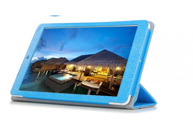 Фирменный чехол-футляр-книжка для Teclast X80/P80H/X80 Plus/P80/X80 Pro синий кожаный
