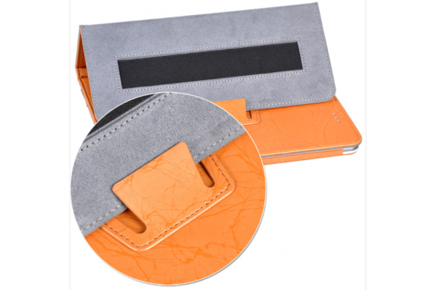 Фирменный чехол закрытого типа с красивым узором для планшета Teclast X98 Plus 2 (II) с держателем для руки оранжевый натуральная кожа Prestige Италия