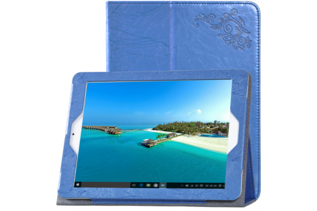 Фирменный чехол закрытого типа с красивым узором для планшета Teclast X98 Plus 2 (II) с держателем для руки синий  натуральная кожа Prestige Италия