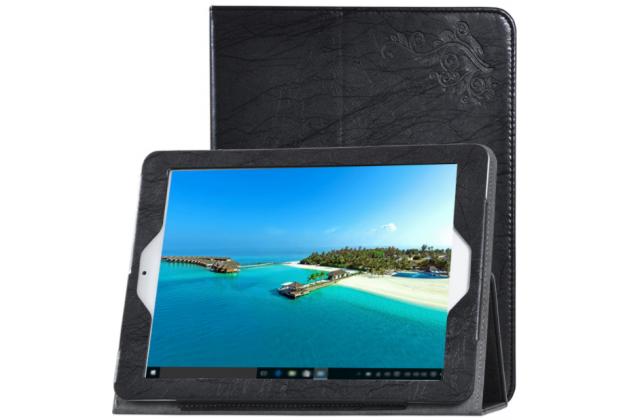 Фирменный чехол закрытого типа с красивым узором для планшета Teclast X98 Plus 2 (II) с держателем для руки черный натуральная кожа Prestige Италия