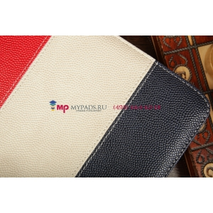 Чехол-обложка для TELEFUNKEN TF-MID1002G синий с красной полосой кожаный