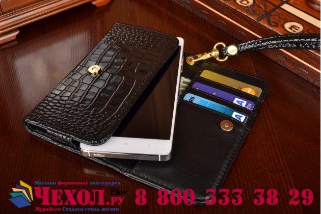 Фирменный роскошный эксклюзивный чехол-клатч/портмоне/сумочка/кошелек из лаковой кожи крокодила для телефона TeXet TM-4513. Только в нашем магазине. Количество ограничено