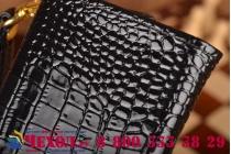 Фирменный роскошный эксклюзивный чехол-клатч/портмоне/сумочка/кошелек из лаковой кожи крокодила для телефона TeXet TM-5005. Только в нашем магазине. Количество ограничено