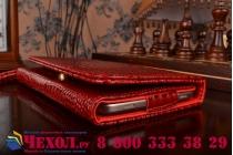 Фирменный роскошный эксклюзивный чехол-клатч/портмоне/сумочка/кошелек из лаковой кожи крокодила для планшета teXet TM-7052. Только в нашем магазине. Количество ограничено.