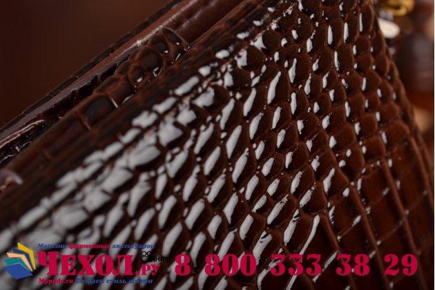Фирменный роскошный эксклюзивный чехол-клатч/портмоне/сумочка/кошелек из лаковой кожи крокодила для планшетов teXet TM-9746. Только в нашем магазине. Количество ограничено.