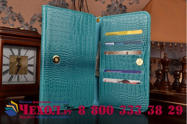 Фирменный роскошный эксклюзивный чехол-клатч/портмоне/сумочка/кошелек из лаковой кожи крокодила для планшетов teXet TM-9749. Только в нашем магазине. Количество ограничено.