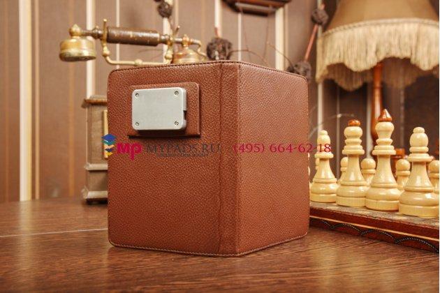 Чехол обложка с подстветкой/лампой для TeXet TB-436 коричневый кожаный
