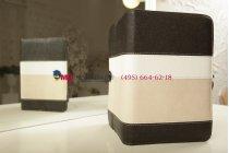 Чехол-обложка для TeXet TM-7043XD черный с серой полосой кожаный