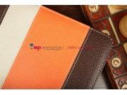 Чехол-обложка для TeXet TM-7043XD коричневый с оранжевой полосой кожаный..