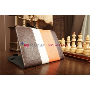 Чехол-обложка для TeXet TM-7043XD коричневый с оранжевой полосой кожаный