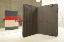 Чехол-обложка для TeXet TM-7043XD синий с красной полосой кожаный
