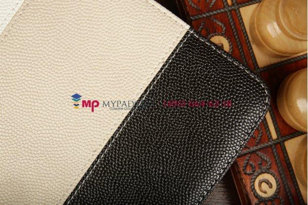 Чехол-обложка для TeXet TM-9737W черный с серой полосой кожаный