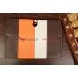 Чехол-обложка для TeXet TM-9737W коричневый с оранжевой полосой кожаный..