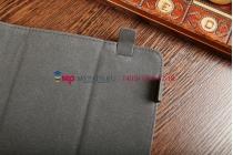 Чехол-обложка для TeXet TM-9737W синий с красной полосой кожаный