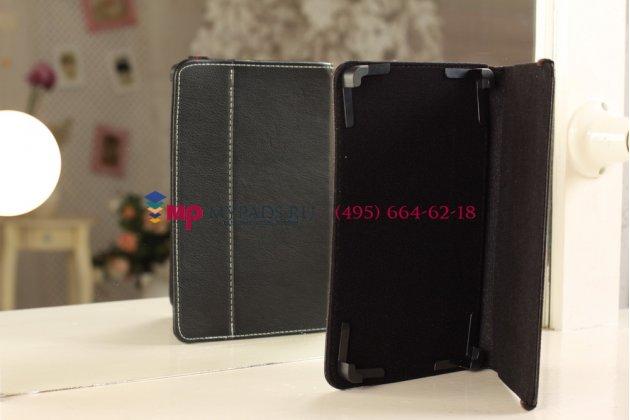 Чехол-обложка для TeXet TB-883A черный кожаный
