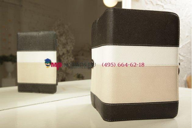 Чехол-обложка для TeXet TB-883A черный с серой полосой кожаный
