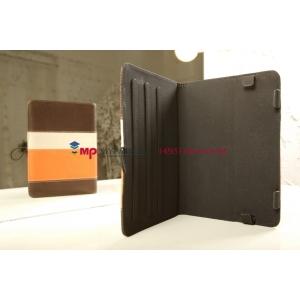 Чехол-обложка для TeXet TB-883A коричневый с оранжевой полосой кожаный