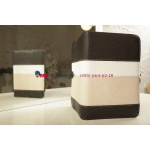 Чехол-обложка для TeXet TM-7853 черный с серой полосой кожаный