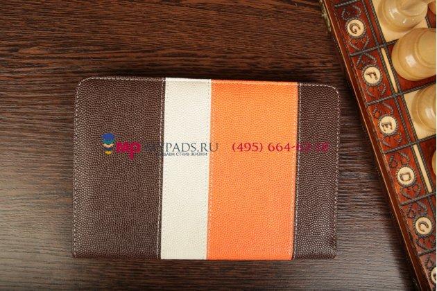Чехол-обложка для TeXet TM-7855 3G коричневый с оранжевой полосой кожаный