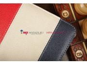 Чехол-обложка для TeXet TM-7855 3G синий с красной полосой кожаный..
