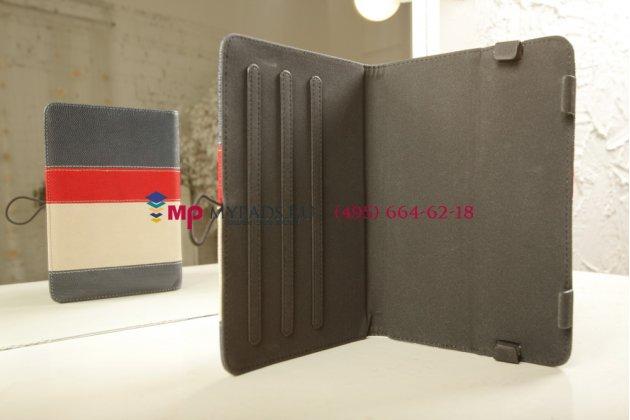 Чехол-обложка для TeXet TM-7855 3G синий с красной полосой кожаный