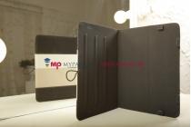 Чехол-обложка для TeXet TM-9750HD черный с серой полосой кожаный