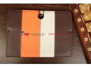 Чехол-обложка для TeXet TM-9750HD коричневый с оранжевой полосой кожаный..