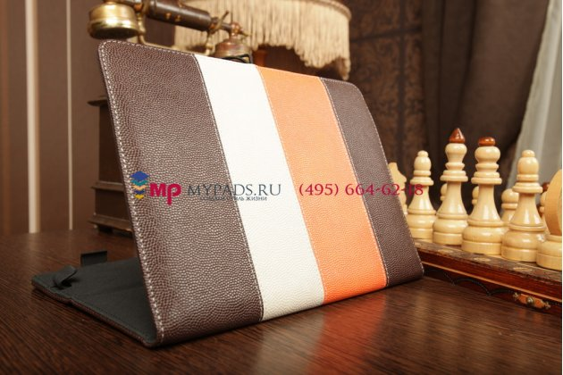 Чехол-обложка для TeXet TM-9750HD коричневый с оранжевой полосой кожаный