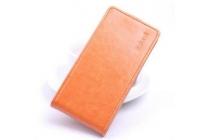 """Фирменный оригинальный вертикальный откидной чехол-флип для ThL T7 5.5"""" оранжевый кожаный"""